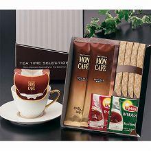 ●ハコ約20.5×16.5×2.2cm・重量=約67.2g●モンカフェスペシャルブレンド7.5g×2、リプトン紅茶(ロイヤルブレンド・セイロン)各2.2g×各1・シュガー5g×4